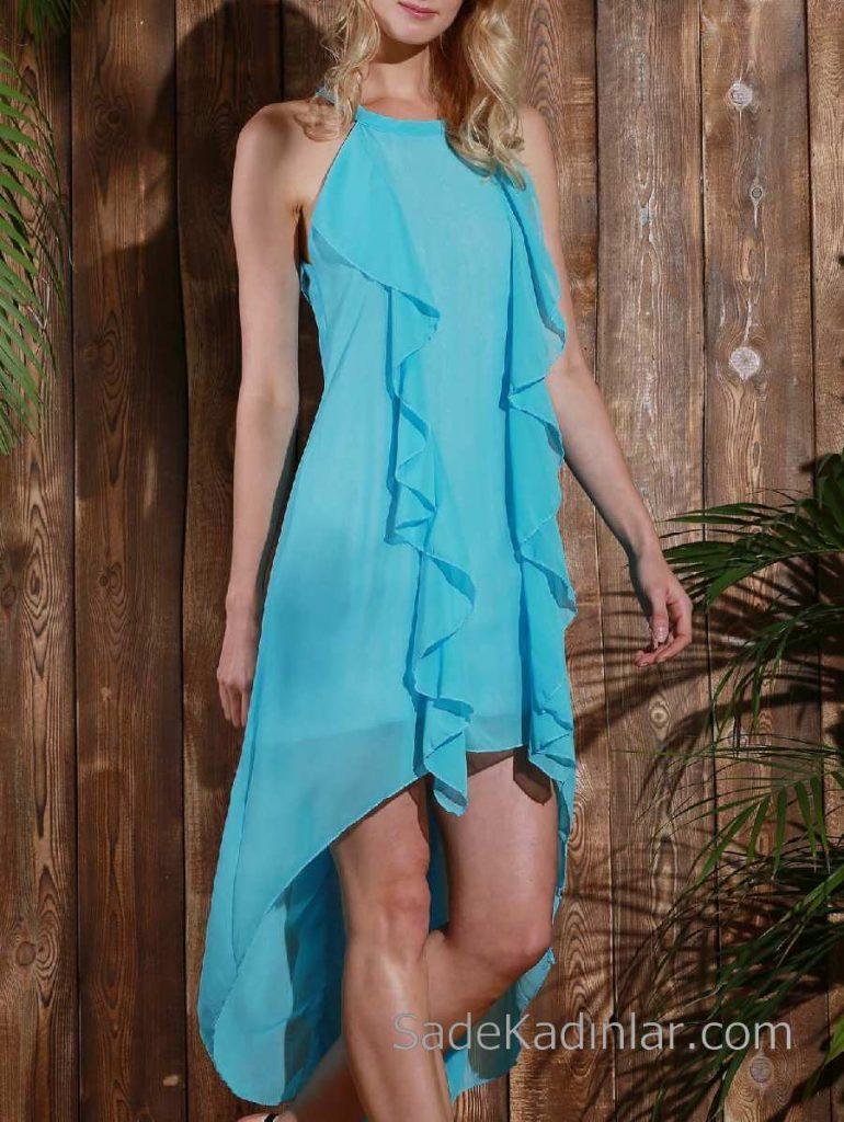 2018 Şifon Elbise Modelleri Turkuaz Mavi Uzun Kolsuz Önde Fırfır Detaylı