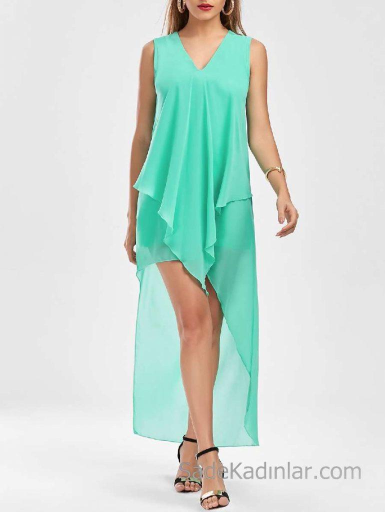 2018 Şifon Elbise Modelleri Yeşil Uzun V Yakalı Simetrik Kesim Etek