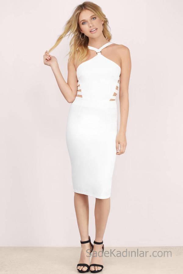 Beyaz Midi Boy Elbise V Askılı Yanlar Açık Şeritli