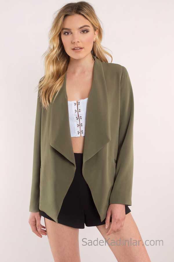 Blazer Ceket Yeşil Kumaş Şortlu Kombin