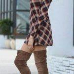 Dizüstü Çizme Kahverengi Süet Ekose Desenli Kısa Elbise