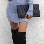 Dizüstü Çizme Siyah Süet Gri Kısa Omzu Açık Elbise