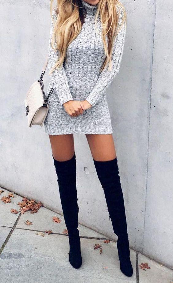 2020 Kış Kombinleri Dizüstü Çizme Siyah Süet Gri Kısa Örme Elbise
