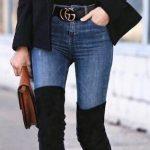 Dizüstü Çizme Siyah Süet Kot Pantolon Siyah Kazak