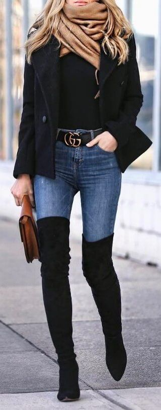 2020 Kış Kombinleri Dizüstü Çizme Siyah Süet Kot Pantolon Siyah Kazak