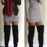 Dizüstü Çizme Siyah Süet Çizgili Elbise Kısa