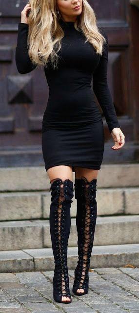 2020 Kış Kombinleri Dizüstü Çizme Siyah Topuklu Siyah Kısa Elbise