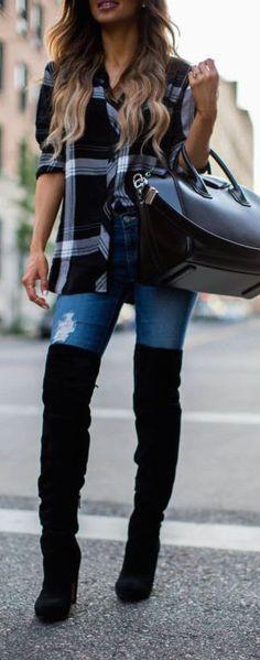 2020 Kış Kombinleri Dizüstü Çizme Süet Kot Pantolon Kareli Gömlek