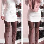 Dizüstü Çizme Vizon Beyaz Kısa Elbise