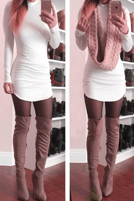 2020 Kış Kombinleri Dizüstü Çizme Vizon Beyaz Kısa Elbise