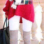 Dizüstü Çizme Vizon Süet Beyaz Pantolon Kırmızı Kazak