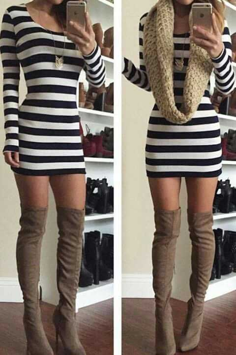Dizüstü Çizme Vizon Süet Siyah Beyaz Çizgili Kısa Elbise