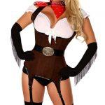 Fantazi İç Giyim Modelleri Kovboy Jartiyerli Kolları Püsküllü Kostüm