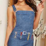Fantazi İç Giyim Modelleri Mavi Kot Kısa Elbise Kostüm