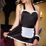 Fantazi İç Giyim Modelleri Siyah Hizmetçi Kıyafeti Kostüm