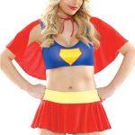 Fantazi İç Giyim Modelleri Süperman Kız Pelerinli Kostüm
