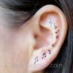 Küçük Dövme Modelleri Tattoo Müzik Notaları Figürlü Kulak Dövmeleri