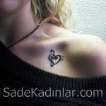 Küçük Dövme Modelleri Tattoo Notalı Kalp Figürlü Omuz Dövmeleri
