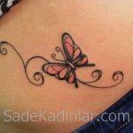 Küçük Dövme Modelleri Tattoo Pembe Kelebek Figürlü Sırt Dövmeleri