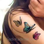 Küçük Dövme Modelleri Tattoo Renkli Kelelbek Figürlü Kol Dövmeleri