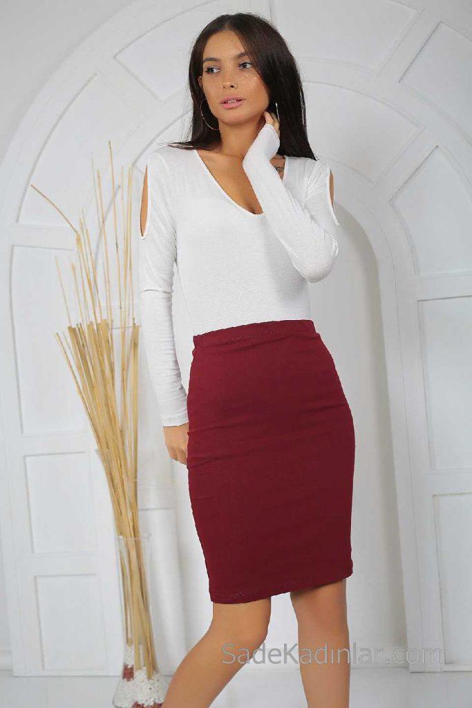 Midi Boy Etek Modelleri Bordo Beyaz V Yaka Bluz Kombin
