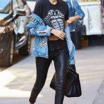 Günlük Sokak Modası Siyah Deri Tayt Siyah Bluz Desenli Kot Ceket