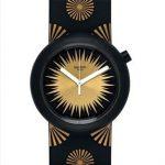 Swatch Saat Modelleri Siyah Kordonlu Gold Desenli