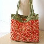 Örgü Çanta Modelleri Kırmızı Yeşil İki Renk İp Fiyonklu