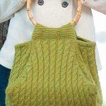 Örgü Çanta Modelleri Yeşil Tahta Saplı Saç Örgülü
