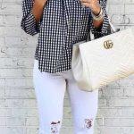 2021 Günlük Kombinler Beyaz Pantolon Siyah Straplez Piti Kareli Gömlek