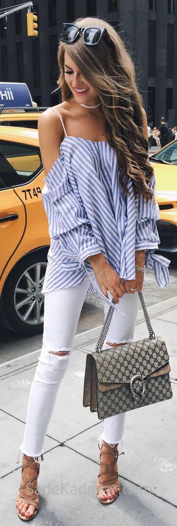 2019 Günlük Kombinler Beyaz Yırtık Pantolon Mavi Çizgili Askılı Gömlek
