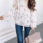 2021 Günlük Kombinler Lacivert Kot Pantolon Beyaz Straplez Çiçek Desenli Bluz