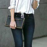 2019 Günlük Kombinler Lacivert Kot Pantolon Beyaz Çizgili Straplez Gömlek