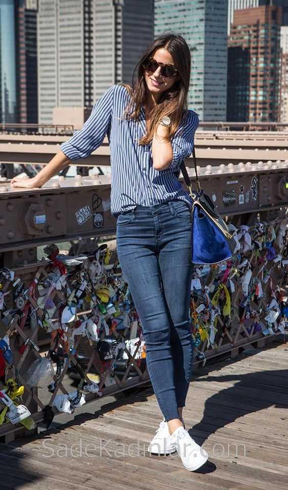 2019 Günlük Kombinler Lacivert Kot Pantolon Lacivert Çizgili Gömlek