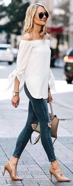 2019 Günlük Kombinler Lacivert Kot Yırtık Pantolon Bej Straplez Bluz