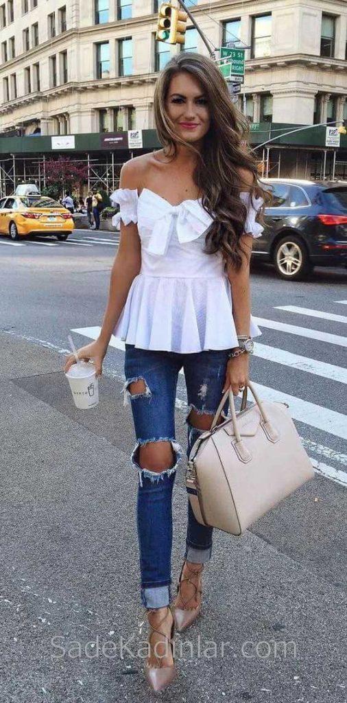2019 Günlük Kombinler Lacivert Kot Yırtık Pantolon Beyaz Straplez Bluz