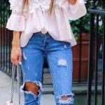 2019 Günlük Kombinler Mavi Capri Yırtık Kot Pantolon Pembe Straplez Bluz