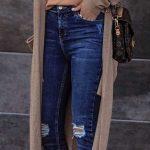 2021 Günlük Kombinler Mavi Yırtık Kot Pantolon Kahverengi Bluz Uzun Hırka