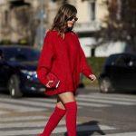 2021 Kombin Trendleri Kırmızı Çizme Kısa Kazak Elbise
