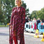 2021 Kombin Trendleri Kırmızı Çizme Pembe Asimetrik Kesimli Çiçekli Elbise
