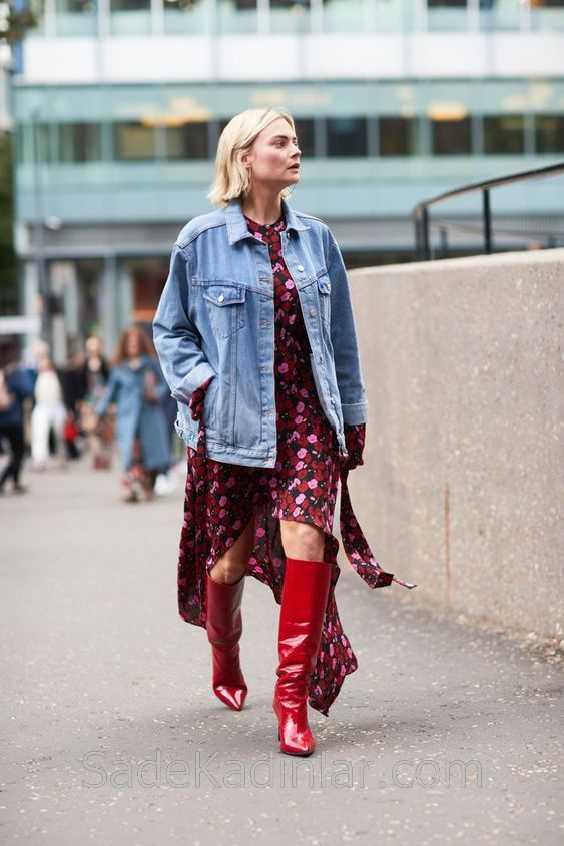 2018 Kombin Trendleri Kırmızı çizme Pembe Desenli Elbise Kot Ceket