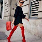 2018 Kombin Trendleri Kırmızı Çizme Siyah Kısa Elbise