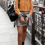 2018 Moda Trend Gri Kısa Kareli Desenli Etek Sarı Kısa Kot Ceket