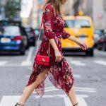 2018 Moda Trend Kırmızı Şifon Çiçek Desenli Simetrik Kesimli Elbise