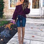 2018 Moda Trend Lacivert Kot Pantolon Mor Tek Omzu Açık Örgü Salaş Kazak