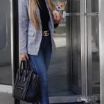 2018 Moda Trend Lacivert Kot Pantolon Siyah Kısa Kazak Gri Desenli Ceket
