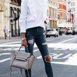 2018 Moda Trend Lacivert Yırtık Pantolon Beyaz Fırfırlı Gömlek