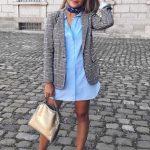 2019 Sokak Modası Trendleri Mavi Kısa Gömlek Elbise Gri Kare Desenli Ceket