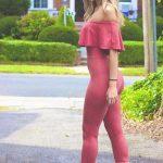 2018 Moda Trend Pembe Vucüdu Saran Straplez Yakası Fırfır Detaylı Tulum