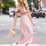 2018 Moda Trend Pudra Uzun Önden Düğmeli Etek Pudra Göbeği Açık Düşük Kol Straplez Bluz